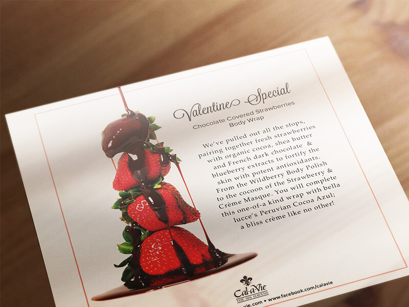 cal-a-vie bella luce chocolate strawberries flyer