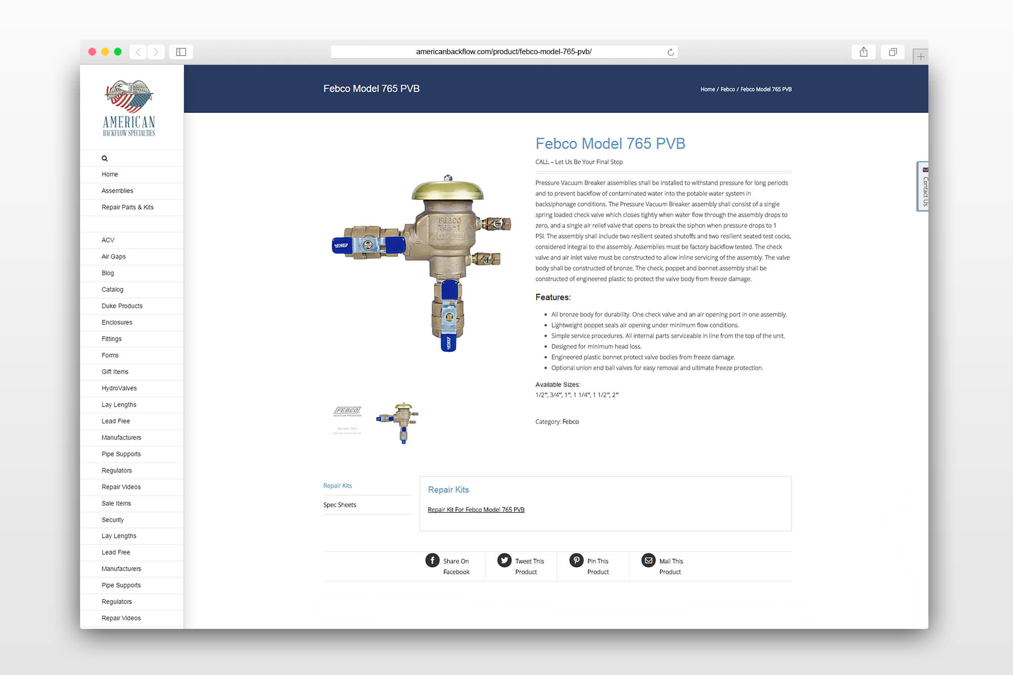 American Backflow Catalog Design