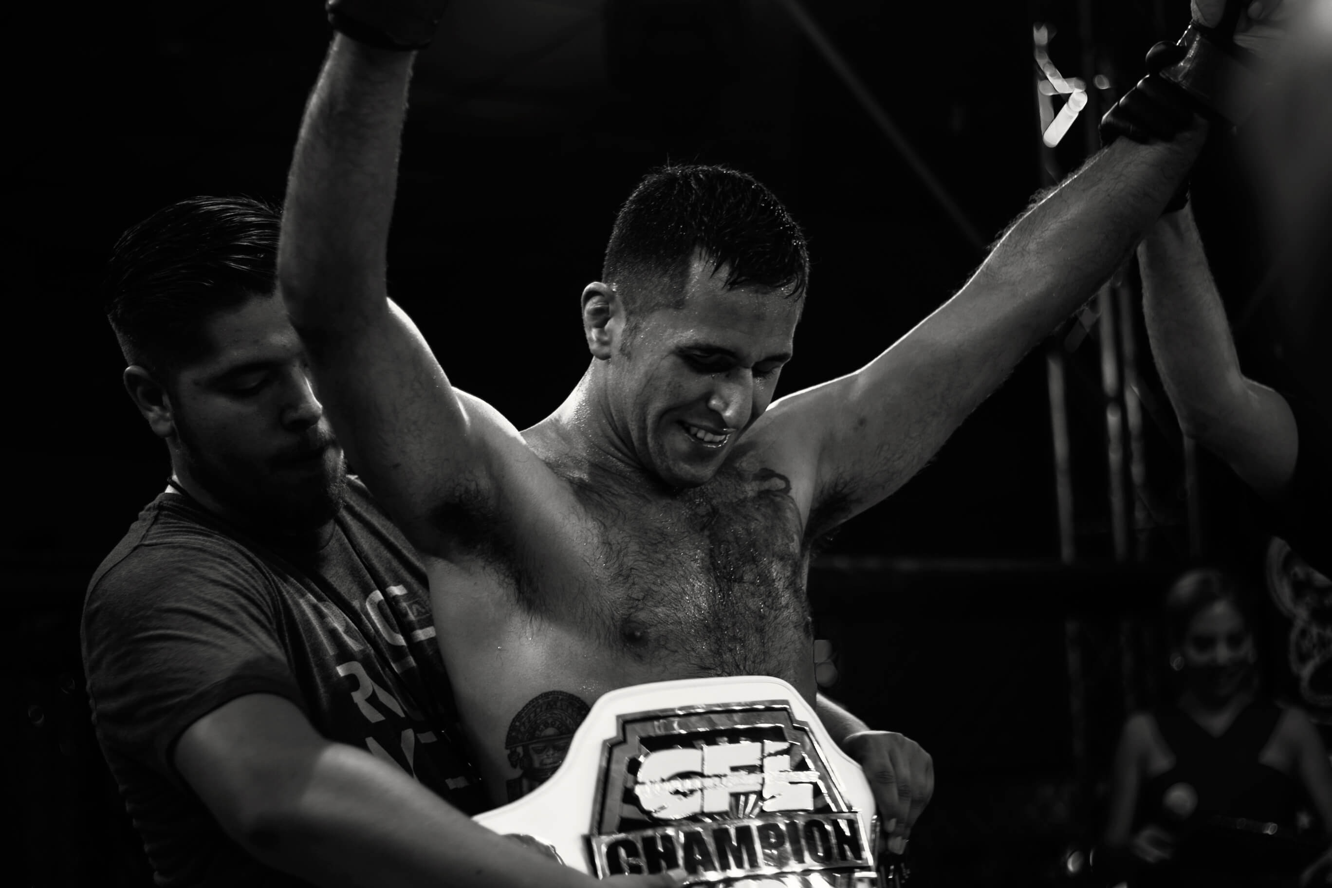 Jose Campos winning the championship belt at CFL VIII